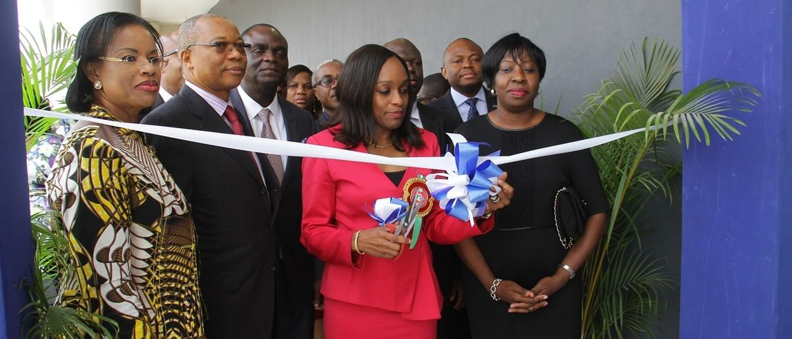 Handout photo shows Dr Omobola Johnson, Minister of Communication Technology formally commissions the MainOne Data Centre in Lagos