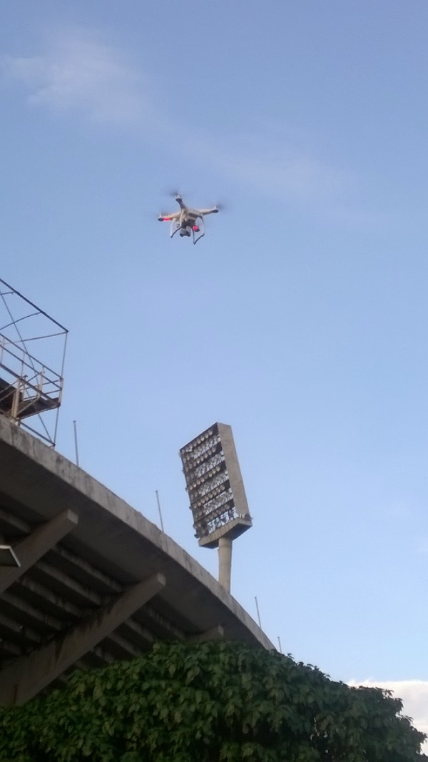A drone in flight over the National Stadium, Lagos