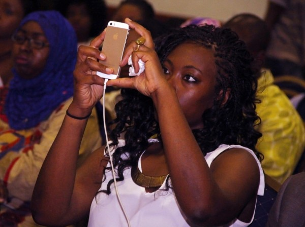 A mobile phone users seen at the Social Media Week Lagos