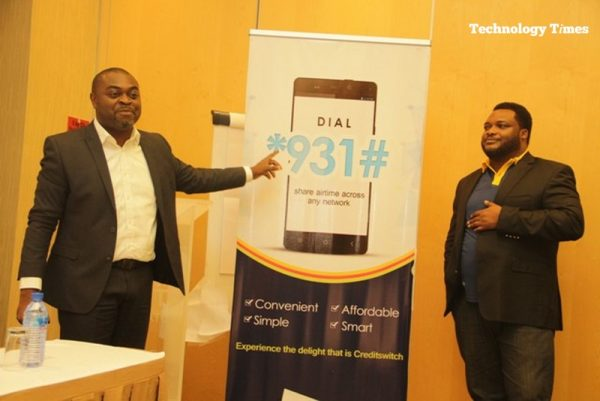 Technology Times file photo shows Akin Naphtal, CEO. Instinct Wave with Nnamdi Nwoye, Partner, Credit Switch, while unveiling the Code for Mobile Credit transfer