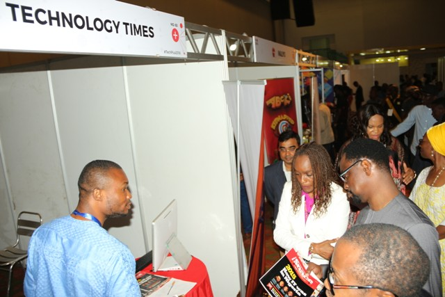 Dr Omobola Johnson Chairperson Alliance for affordable internet visiting exhibitor stand at TechPlus 2016