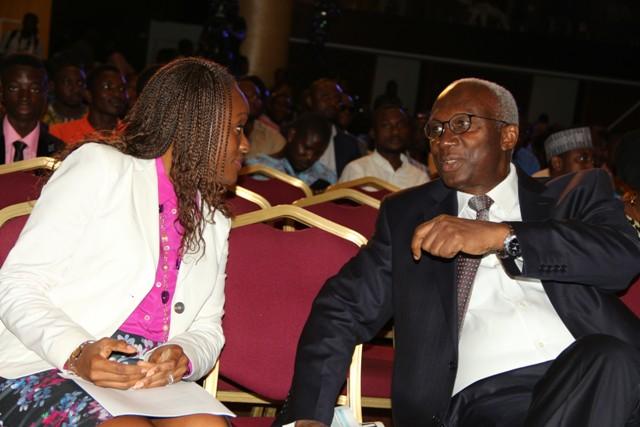 Dr Omobola Johnson (L) with Dr Ernest Ndukwe , former EVC of NCC seen at TechPlus 2016