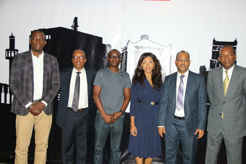 Toba Obaniyi, CEO, Whogohost (left); Shina Badaru, Founder, Technology Times; Olumide Olusanya, CEO, Gloo.ng; Helen Anatogu, CEO, iDEA Hub and CEO, Internet Exchange Point Nigeria, in a group photo Thursday at the Local Content track of Technology Times Outlook 2017, #TTOutlook17, at The MUSON Centre in Lagos.