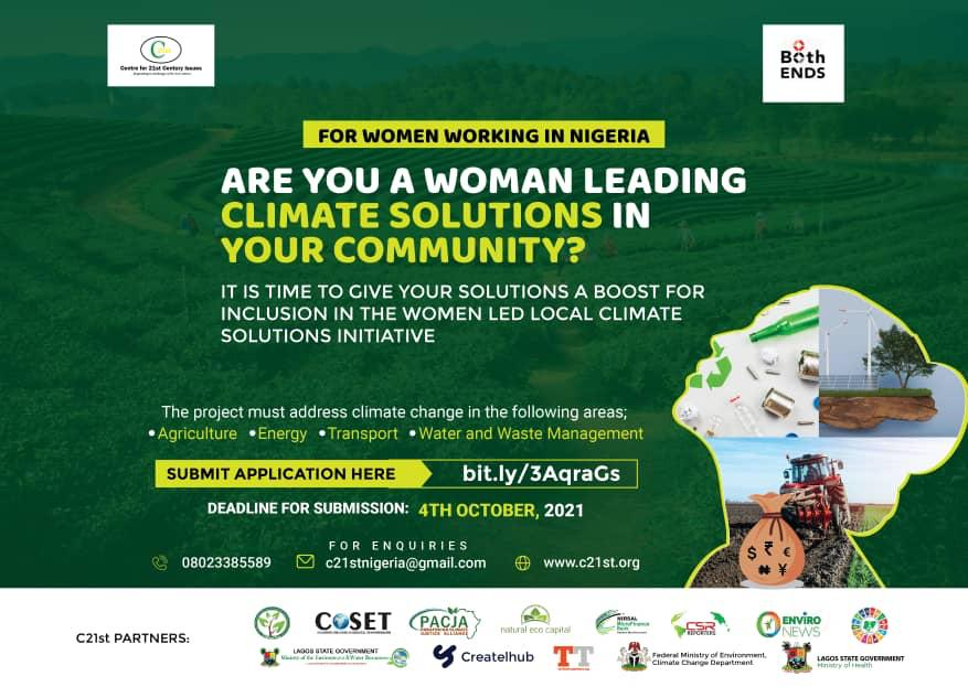 C21st opens call for projects proposals on women-led climate solutions
